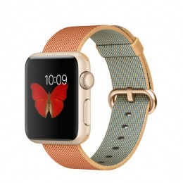 38mm Gold Aluminium Case with Gold/Red Woven Nylon