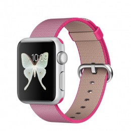38mm Silver Aluminium Case with Pink Woven Nylon